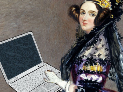 Ada Lovelace holding a laptop