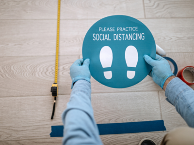 Image of social distancing floor sticker