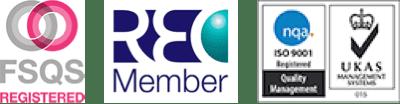 FSQS, REC Member, UKAS logos
